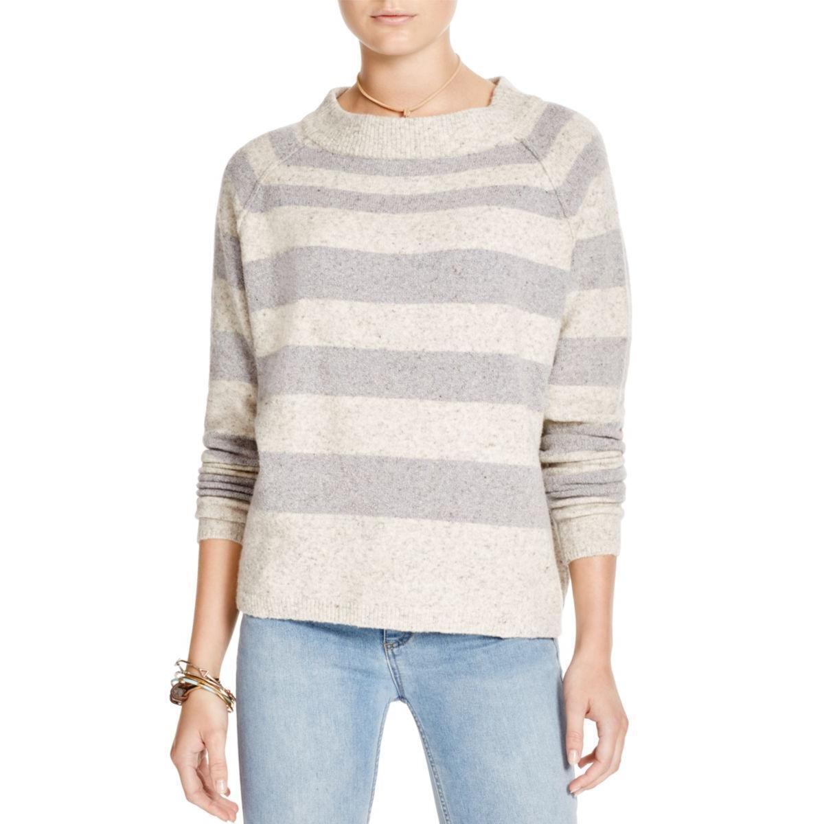 Free People Striped Crop Sweater wool Blend Ivory Grey  118 Medium NWT
