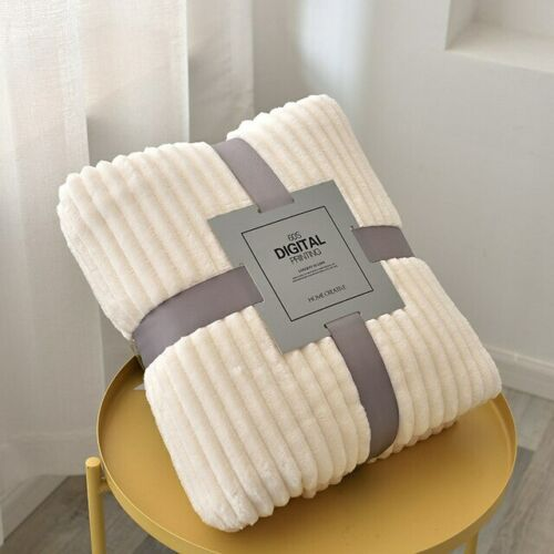 Soft Quilted Flannel Blankets Solid Striped Throw Sofa Cover Winter Warm Blanket