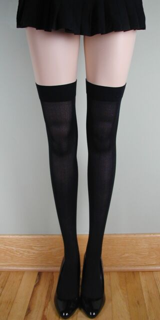 OPAQUE PLAIN TOP School Girl Stockings BLACK O/S & PLUS
