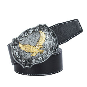 Western-Leather-Flying-Eagle-amp-Arabesque-Cowboy-Belt-Buckle-For-Men-Jeans