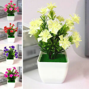 Artificial Fake Potted Flower Plant Bonsai Outdoor Indoor Garden Home Decor Ebay