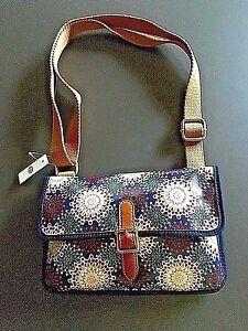 New NWT Fossil Keyper Mini Calypso Blue Floral Geometric Shoulder Purse Handbag