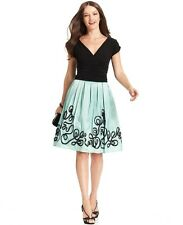 SL Fashions black knit with green taffeta skirt cocktail dress NWT 20W