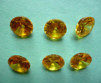 27-29 CARAT SPARKLING STONES YELLOW 6 Pcs CUBIC ZIRCONIA 8mm Indian Gems