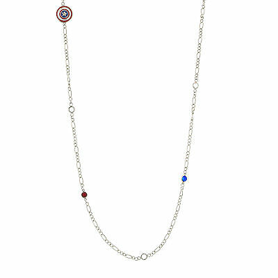 "Marvel Jewelry Stainless Steel Captain America 36"" Chain Bead Necklace"