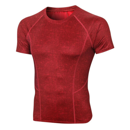 Men/'s Summer Cool Dry Compression Short Sleeve Sports Baselayer T-Shirts Tops