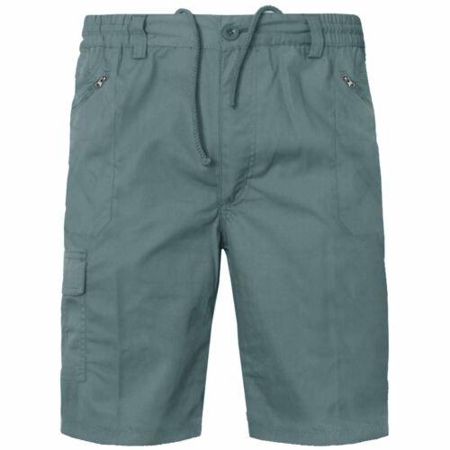 Mens Cargo Shorts Cotton Plain Summer Elasticated Waist Pockets New Combat Pants