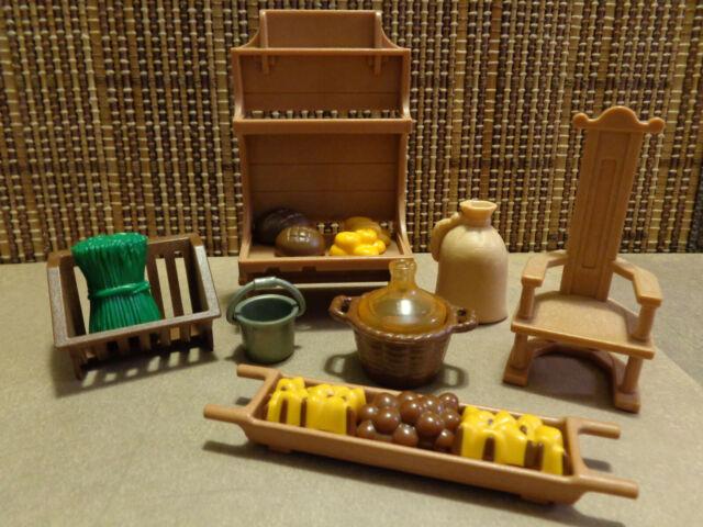 Medieval Bakery, Kitchen, Chair, Shelf, Bread & Fruits, Cask, Asst Accessories,