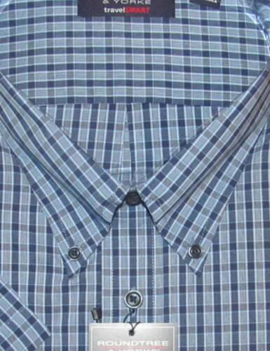 Roundtree Mens SS Navy /& Blue Plaid Easy Shirt 2X B NWT