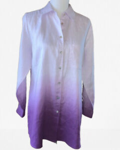 Soft-Surroundings-Ombre-100-Linen-Hi-low-Button-Down-Shirt-Sz-Medium-129-00