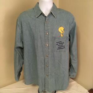 Vtg-1996-Warner-Brothers-Studio-Store-Mens-Shirt-Medium-Embroidered-Tweety-Bird