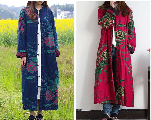 Spring Trench Coat damänner Cardigan Floral Long jacke baumwolle Linen Duster mäntel