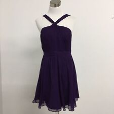 J Crew womens dress Sinclair silk chiffon purple  cross straped neckline Sz 6
