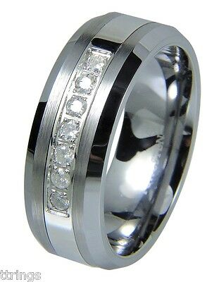 Men's Tungsten Carbide Diamond wedding band Ring 8mm Real Diamond 0.25 Carats