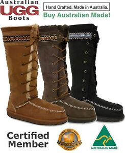 Image is loading UGG-BOOTS-Lace-Up-Nordic-100-Sheepskin-Australian-