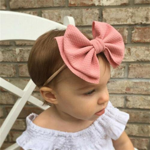 Cute Baby Toddler Girls Kids Bow Knot Turban Nylon Headbands Hair Band Headwrap