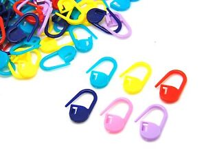 Mixed-Bright-Colour-Plastic-Stitch-Holder-Markers-Crochet-Knitting-Craft-ML