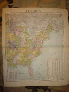 Florida To Maine Map.1884 Antique Eastern United States Map Florida Maine Nr Ebay
