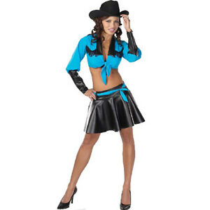 Image is loading Rodeo-Girl-Turquoise-Cowgirl-Western-Dress-Up-Sexy-  sc 1 st  eBay & Rodeo Girl Turquoise Cowgirl Western Dress Up Sexy Adult Halloween ...