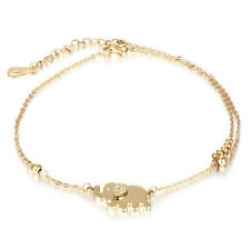 Fashion Women Charm Rhinestone Gold Elephant Chain Bracelet Jewelry Gift