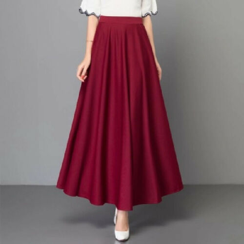 Womens A-line Swing Cocktail Evening Party High Waist Pleated Maxi Office Skirts