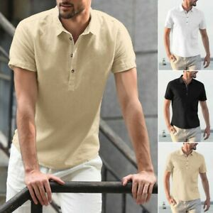 Men-039-s-Baggy-Cotton-Linen-Solid-Short-Sleeve-Button-Turn-down-Collar-Shirts-Tops