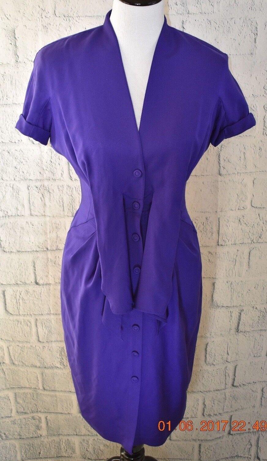Thierry Muglar Paris damen lila Silk Dress Front Snap Button Fitted Sz 36 EUC