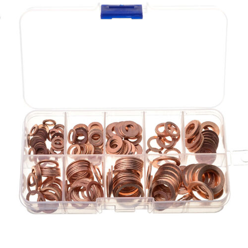 200pcs M5-M14 Assorted Solid Copper Gasket Washers Seal Flat Ring Set with Box