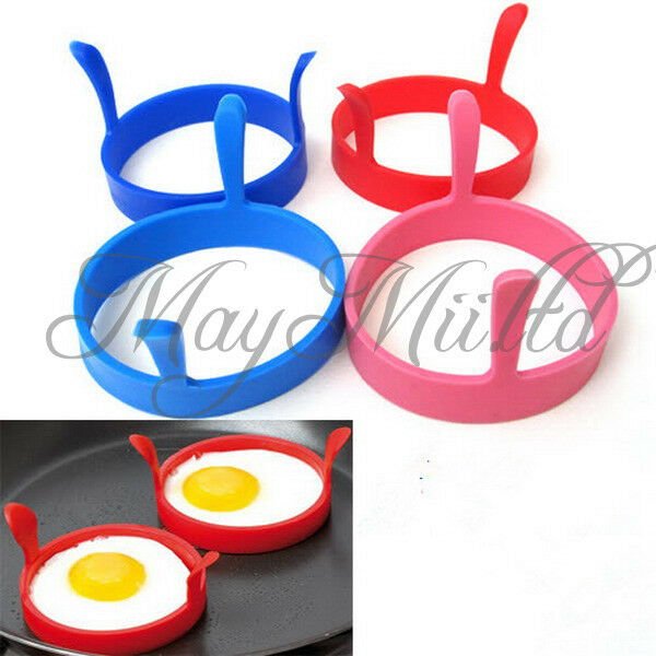 2Pcs Silicone Fried Frier Oven Poacher Pancake Egg Poach Ring Mould Kitchen M