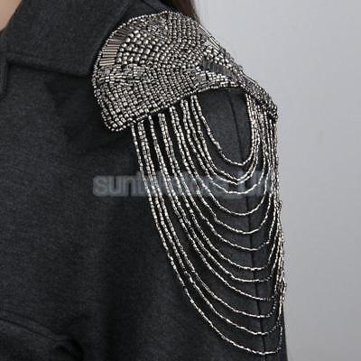 1 Pair Vintage Tassel Chain Beads Punk Brooch Epaulet Shoulder Board Mark