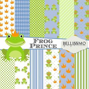 Frog Prince Blue Green Baby Boy Scrapbook Papers 12 Sheets