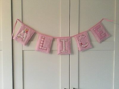 Girl Personalised Name Bunting Banner New baby Laura Ashley Cath Kidston Pink