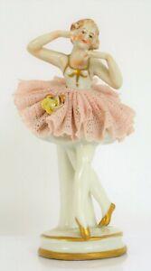 ANTIQUE BEAUTIFUL FINE PORCELAIN FIGURINE LACE DRESS DANCER WOMAN DRESDEN MARK?