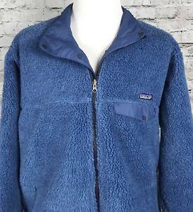 Patagonia-Men-s-Reversible-Deep-Pile-Fleece-Retro-Blue-Jacket-XL-XXL-Vintage