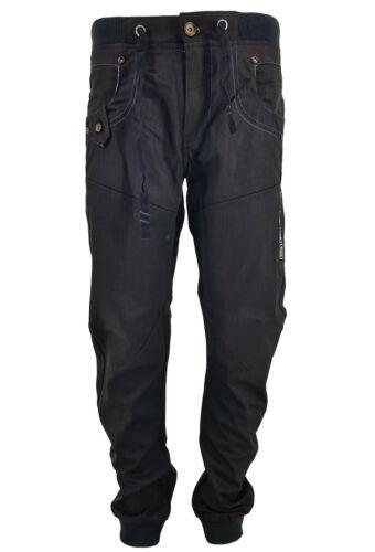 Da Uomo Peviani Alla Caviglia Con Risvolto Jeans Jogger Regular Fit Jean Vita Elasticizzata Pantaloni