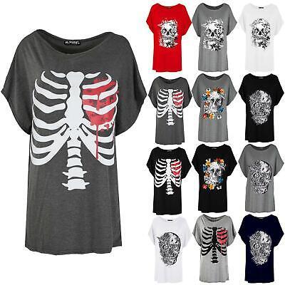 Womens Batwing Lagenlook Halloween Skeleton Heart Ladies Loose Baggy T-Shirt Top