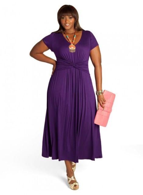 Igigi Womens Dress Maxi 26 28 4X Plus Size Purple Antonia Style Made USA  Lined