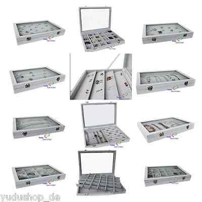 Schmucklade Schaukasten mit Glasdeckel  grau freie Auswahl