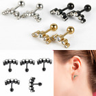 Pair 16G Steel Barbell Ear Tragus Cartilage Helix Stud Earrings Piercing Jewelry