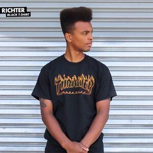 Thrasher-Magazine-RICHTER-FLAMES-LOGO-Skateboard-Shirt-BLACK-LARGE