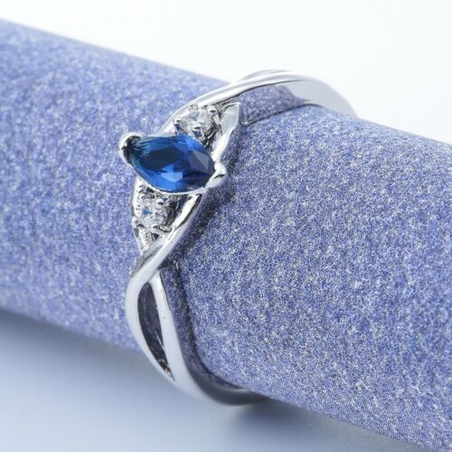 Fashion Jewelry 1.0 Ct Femmes Charme Argent 925 aigue-marine Anneau Mariage Taille 6-10