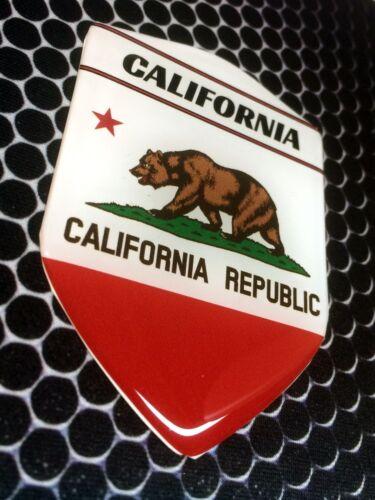 "California Golden State Proud Shield Domed Decal Emblem Car Sticker 3D 2.3x 3.3/"""