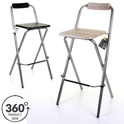 Folding Wooden Bar Stool Chair Breakfast Kitchen Seating