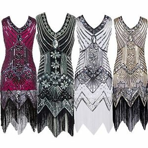 Brand-New-Women-039-s-Vintage-Elegant-V-neck-Sequin-Beaded-Flapper-Evening-Dresses