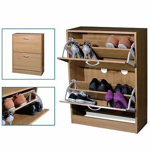 e669076780d Image is loading 2-Drawer-Natural-Wooden-Shoe-Storage-Cabinet-Footwear-