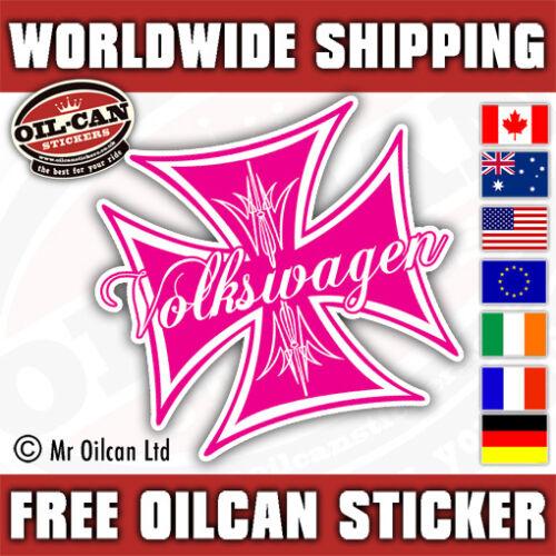 VOLKSWAGEN IRON CROSS car sticker pink old school 85mm