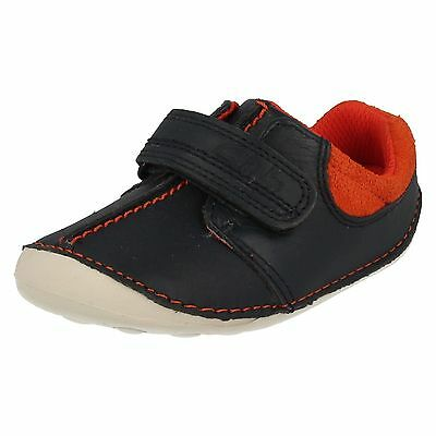Boys Clarks Tiny Joe Navy Leather Pre-Walking Shoes