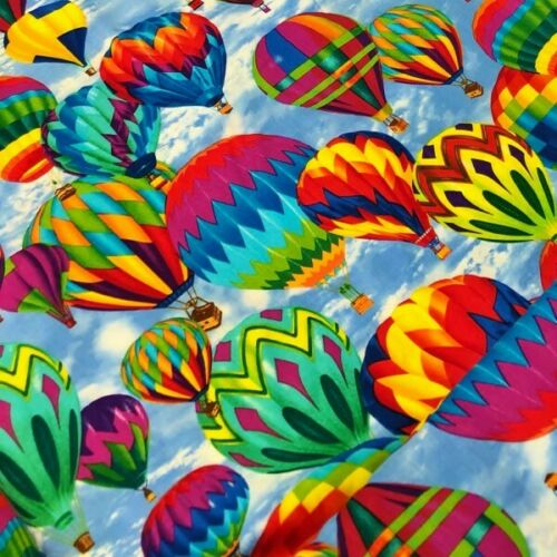 100/% Cotton Fabric Timeless Treasures Colourful Hot Air Balloon Sky