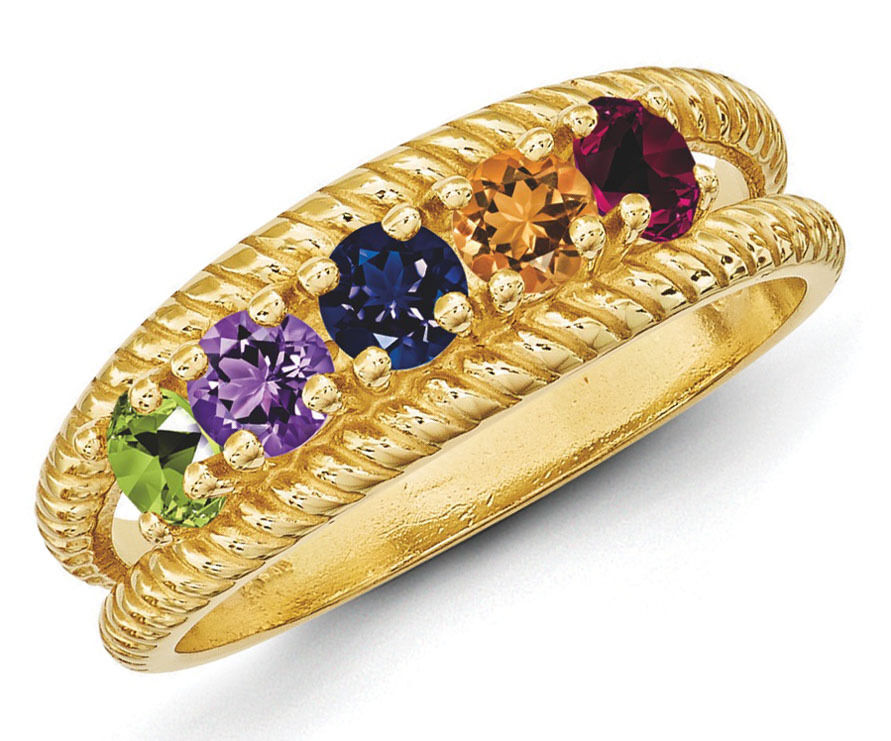 14K Solid gold Mother's Day Ring 1 to 8 Birthstones, Moms family Jewelry Ring