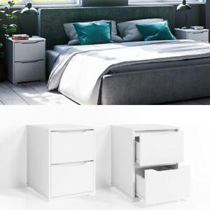 Dettagli su Comodino Moderno con 2 cassetti arredo camera da letto Bianco  opaco